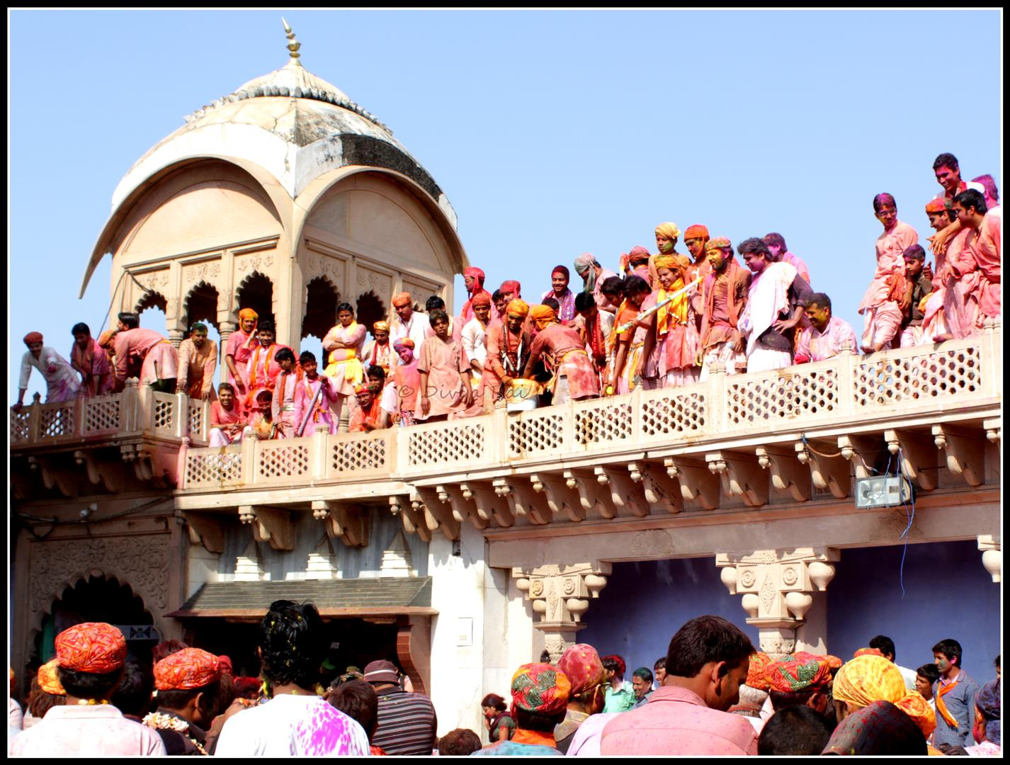 Temple courtyard Holi