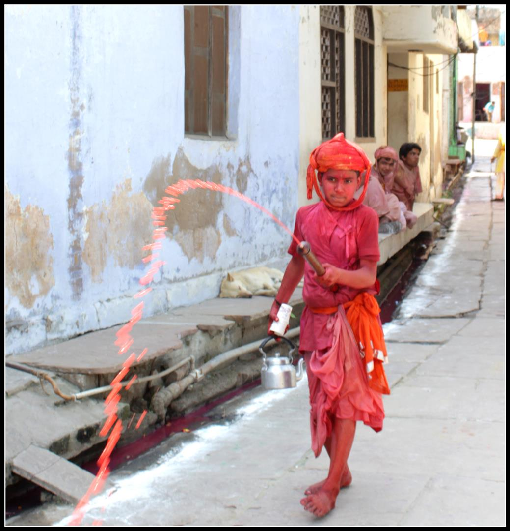 Shooting holi in Vrindavan