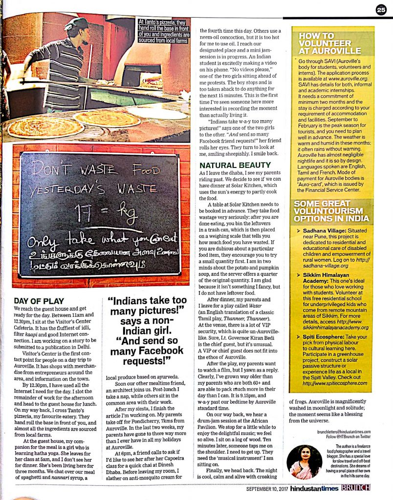 Auroville article by Divya Rai