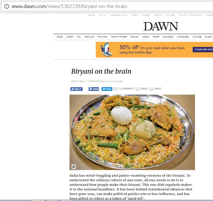 An article on types of biryani in India