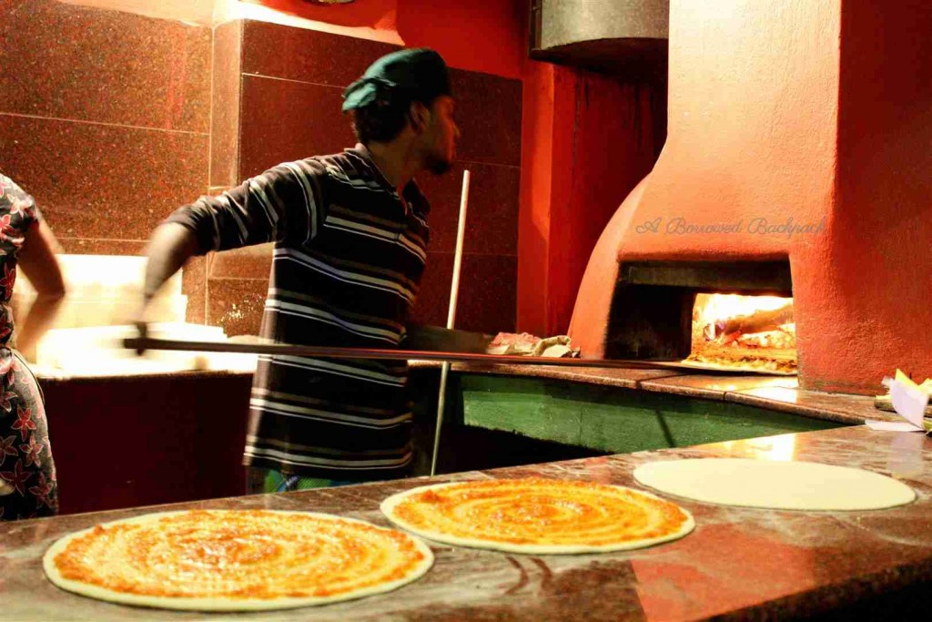 Wood-fire oven pizza in Auroville
