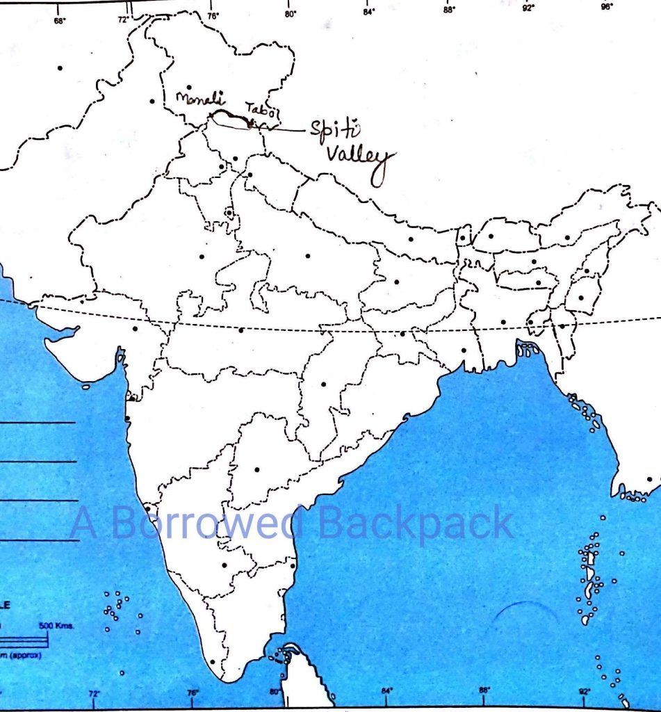 Location of Spiti valley on the Indian Map