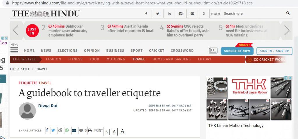 traveller etiquette in india